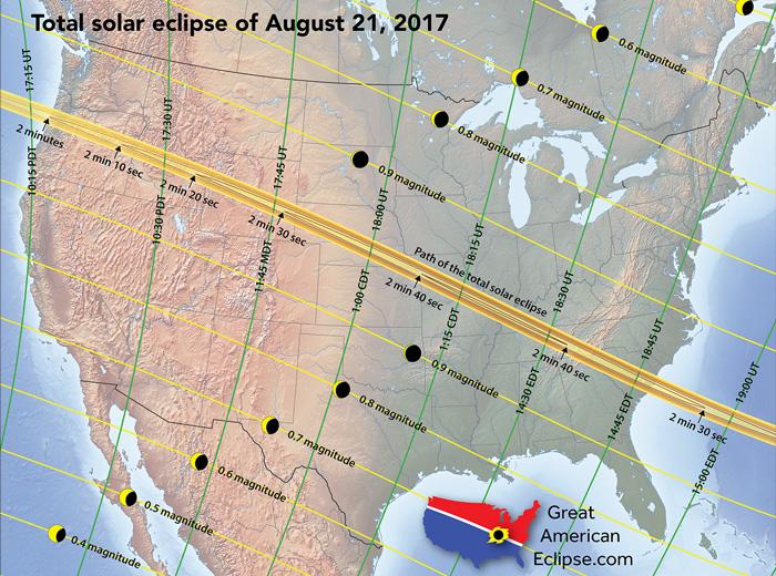 Zaćmienie Słonca USA mapa